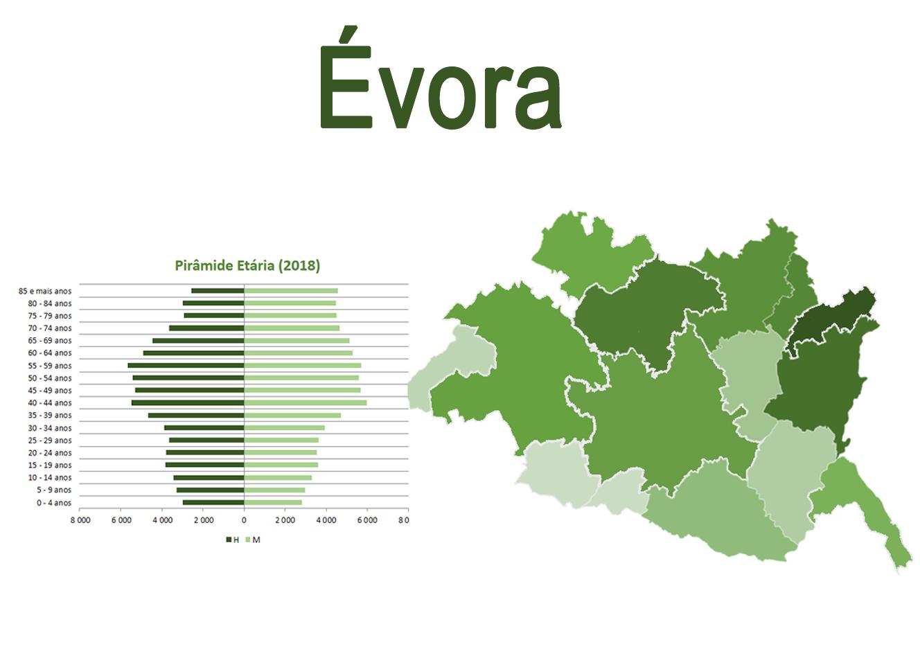 Mapa e Pirâmide etária para o distrito de Évora