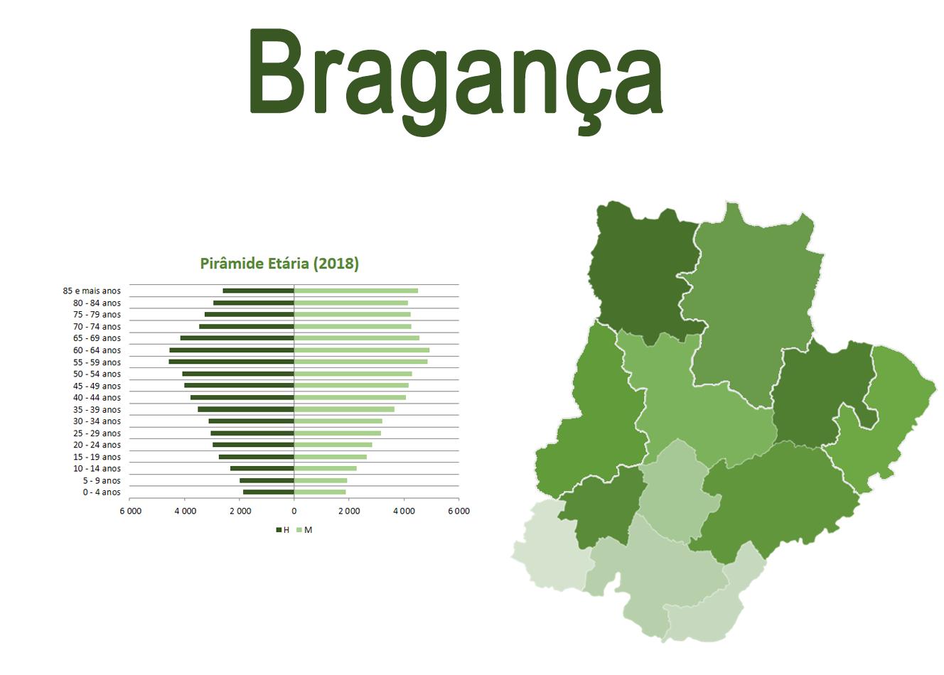 Mapa e Pirâmide etária para o distrito de Bragança