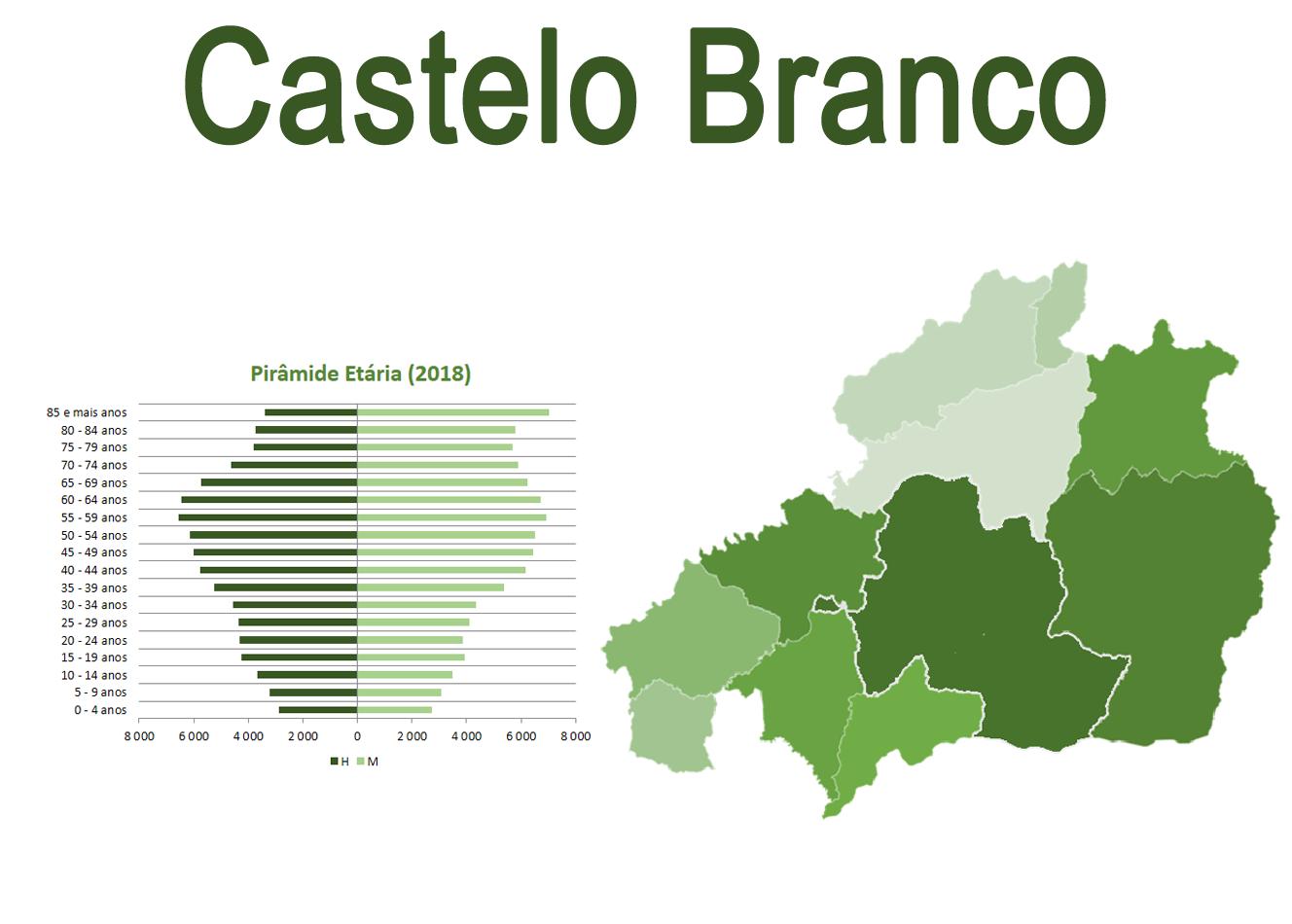 Mapa e Pirâmide etária para o distrito de Castelo Branco