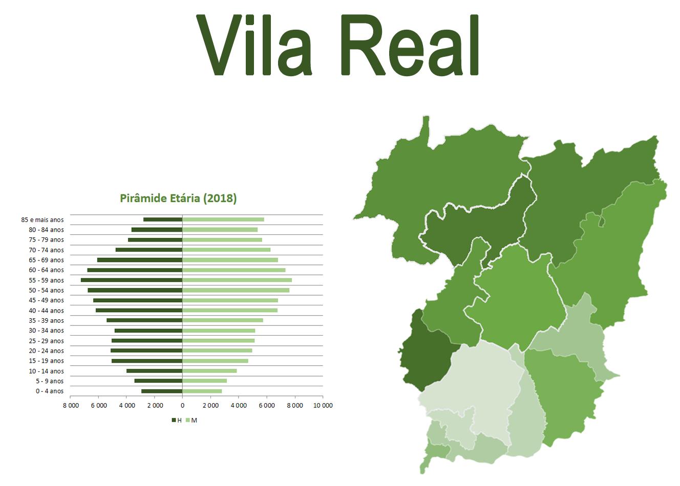 Mapa e Pirâmide etária para o distrito de Vila Real